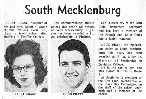 R. M. Miller Jr. Memorial Scholarship, Davidson College, 1963